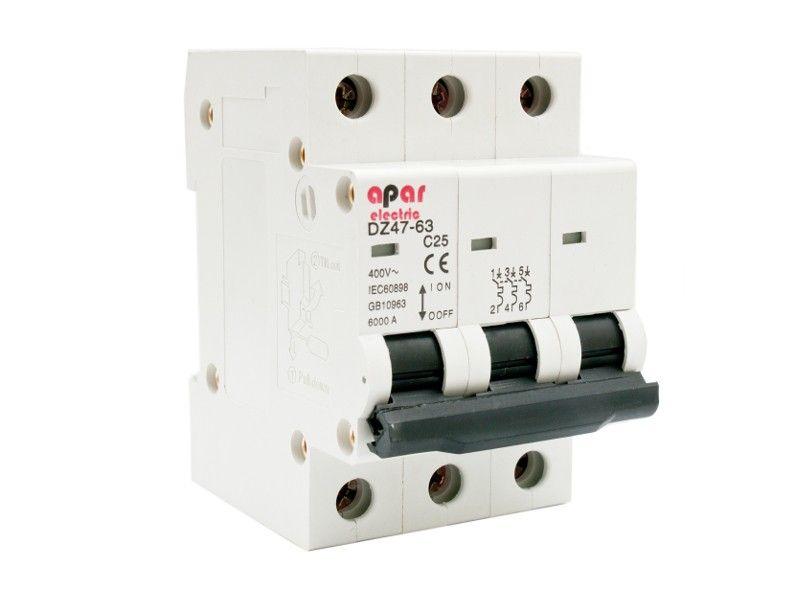 Wyłącznik nadprądowy C25 3P APAR ELECTRIC 3-fazowy